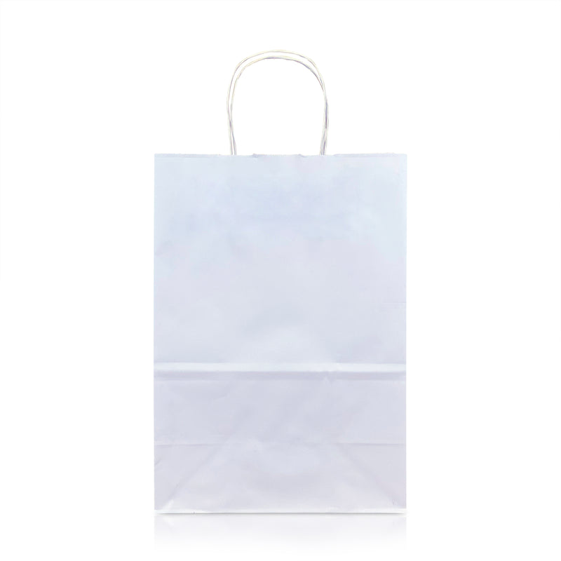 "CARA 8 3/4 x 4 3/4 x 9 1/4"" Inches – WHITE Kraft Paper Shopping Bag with Twisted Paper Handles"