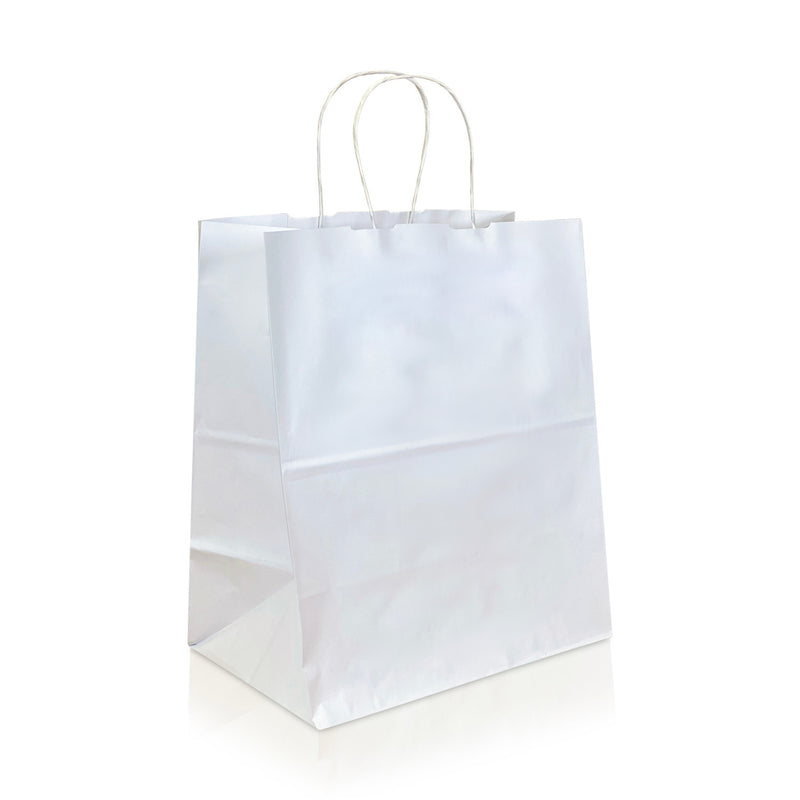 "FINA 9 3/4 x 4 3/4 x 13"" Inches – WHITE Kraft Paper Shopping Bag with Twisted Paper Handles"
