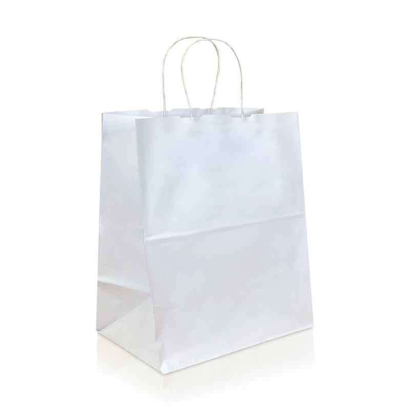 "GALA 12 1/2 x 6 1/2 x 16 3/4"" Inches – WHITE Kraft Paper Shopping Bag with Twisted Paper Handles"