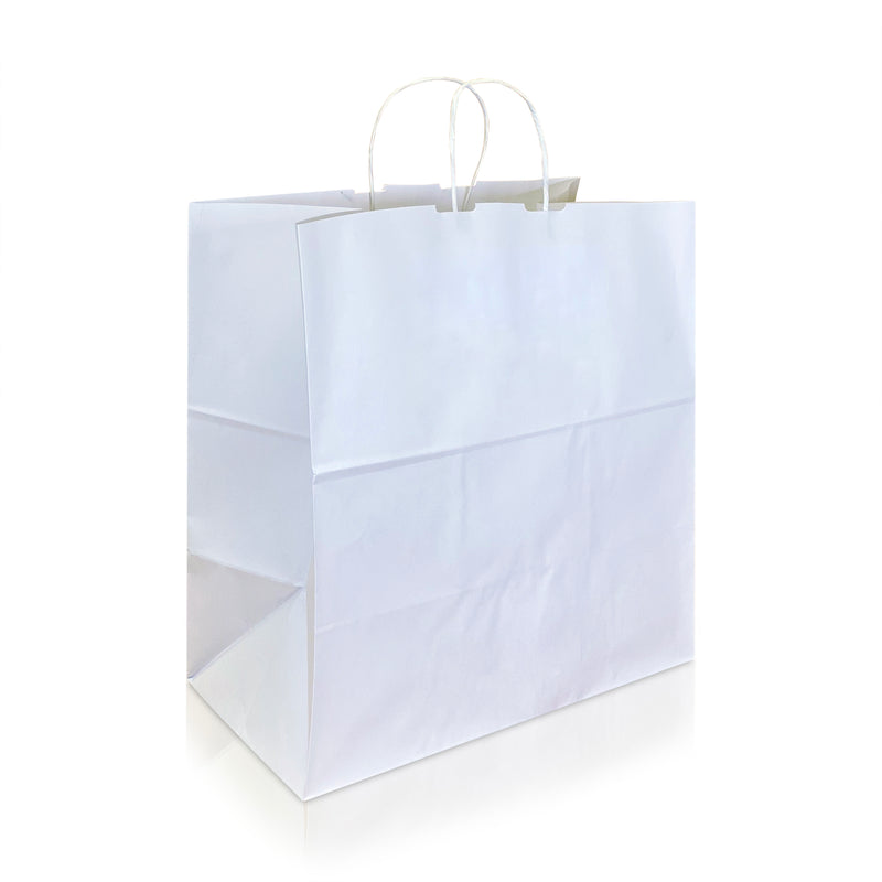 "JUNA 15 x 9 7/8 x 15"" Inches – WHITE Kraft Paper Shopping Bag with Twisted Paper Handles"