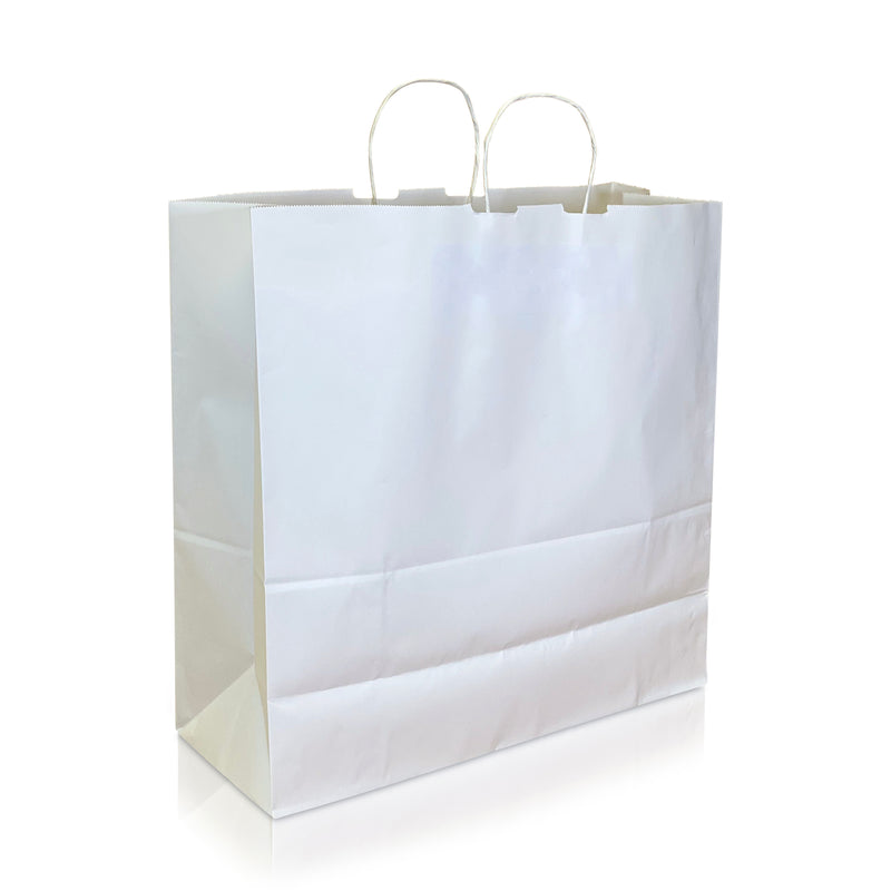 "LANA 17 ¾ x 7 x 17 ¾ "" Inches – WHITE Kraft Paper Shopping Bag with Twisted Paper Handles"