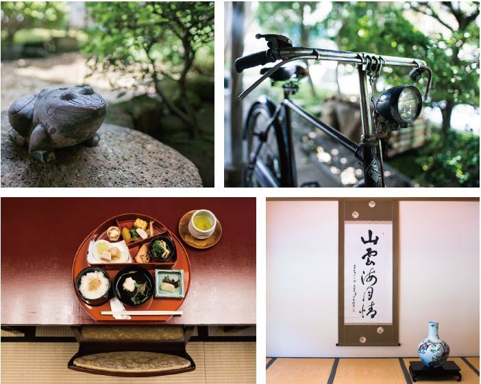 Pictures of a frog statue, and old fashioned bicycle, traditional Japanese food, and Japanese calligraphy with pottery