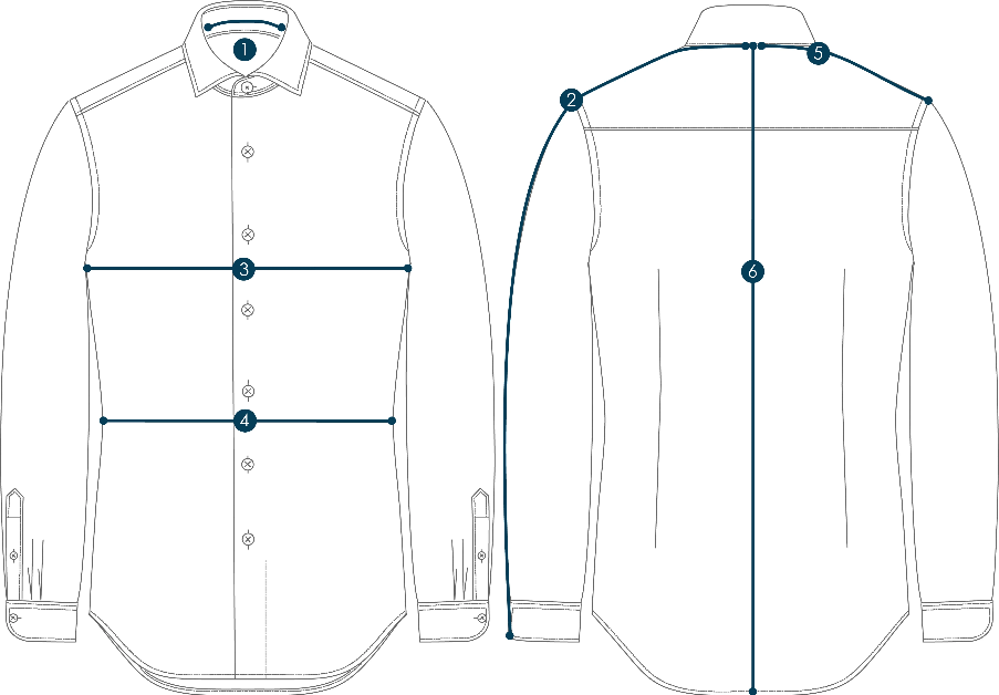Illustration of shirt with numerical markings 1 on collar, 2 on sleeve, 3 on chest, 4 on waist, 5 on shoulder, and 6 on length