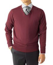 Load image into Gallery viewer, V-NECK KNIT SWEATER 18 Gauge Wool