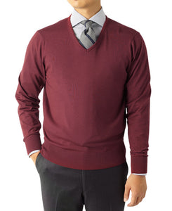 V-NECK KNIT SWEATER 18 Gauge Wool