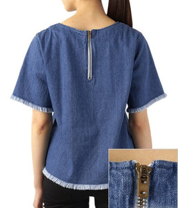 WOMEN CASUAL Crew Neck Denim
