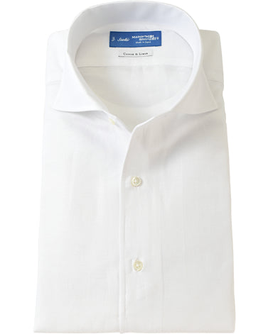 NEW YORK SLIM FIT - SCIOLTO One Piece Collar Spread Cotton Linen