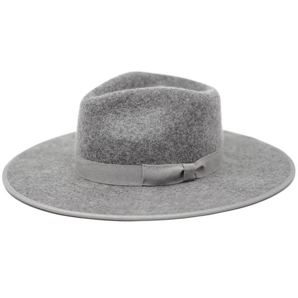 olive & pique flat brim wool fedora with piping brim detail