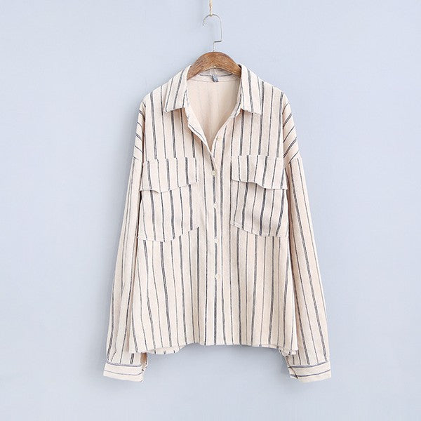 retro corduroy shirt boyfriend-fit long-sleeved jacket