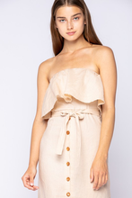 Load image into Gallery viewer, off-shoulder tube button down midi dress