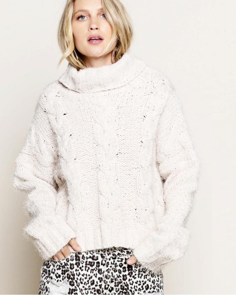 pol turtle neck mohair knit sweater