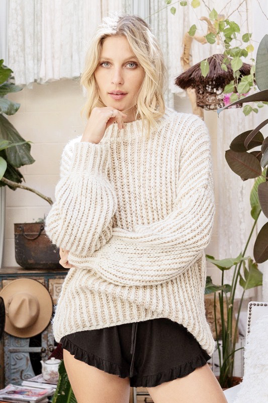 pol mock neck two tone knit sweater