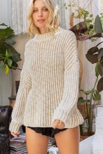 Load image into Gallery viewer, pol mock neck two tone knit sweater