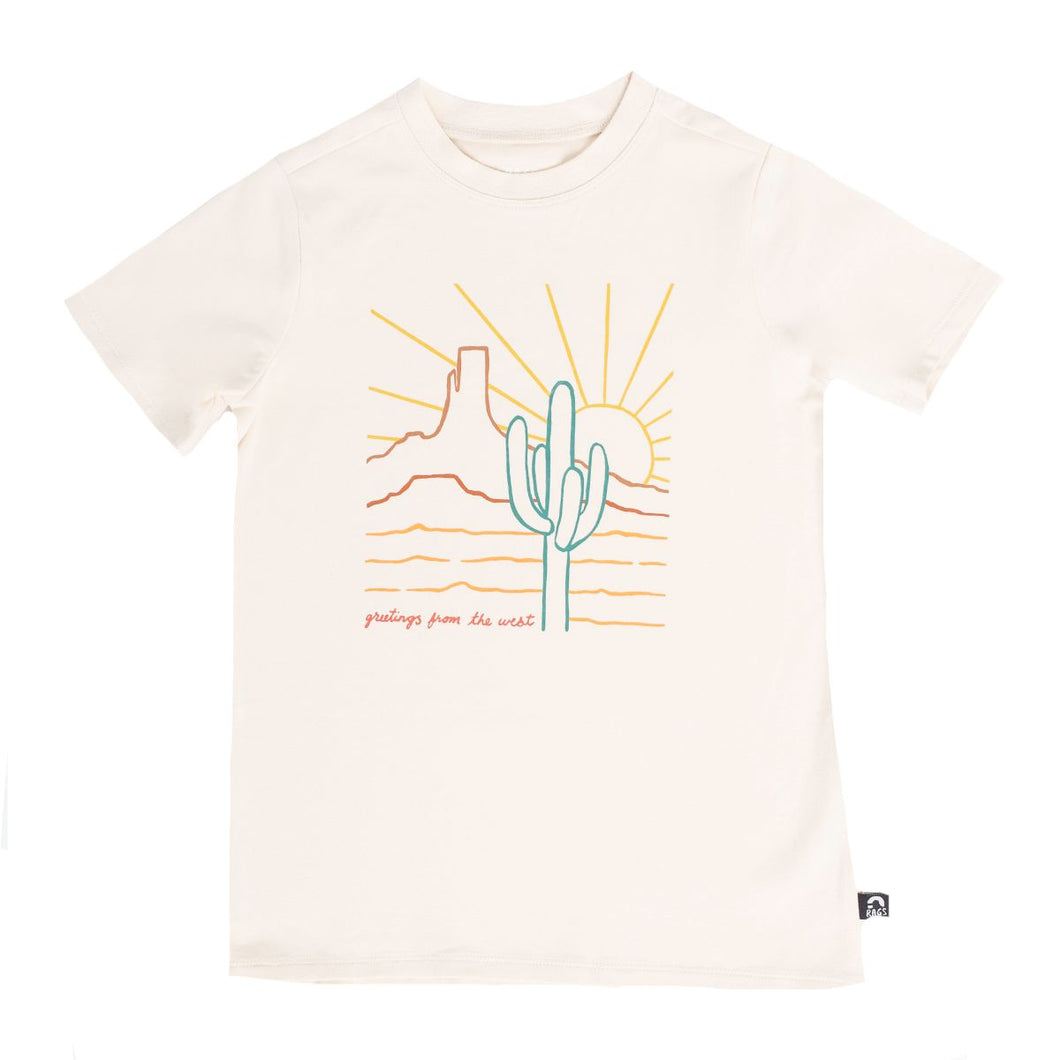 Rags Short Sleeve Rounded Tee - 'Greetings from the West'