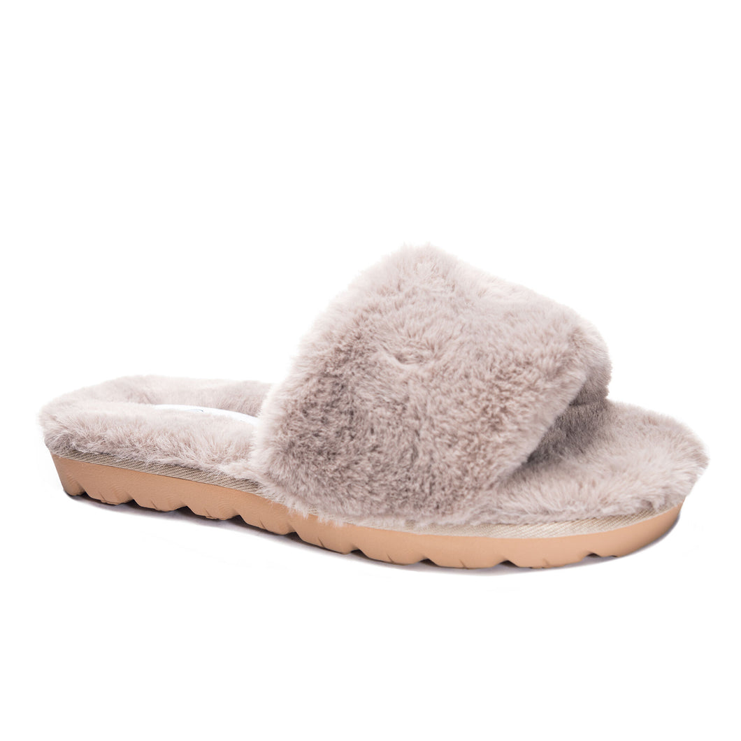 chinese laundry rally faux fur slide