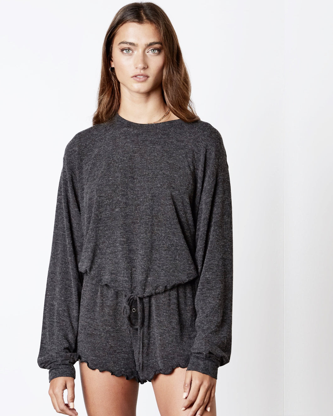 soft tie waist long sleeve top