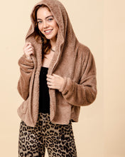Load image into Gallery viewer, hyfve teddy lightweight open cardi hoodie