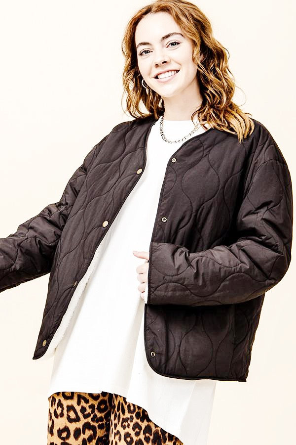 reversible quilted/teddy oversized jacket