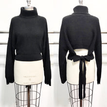 Load image into Gallery viewer, audrey turtleneck with open tie-back feature