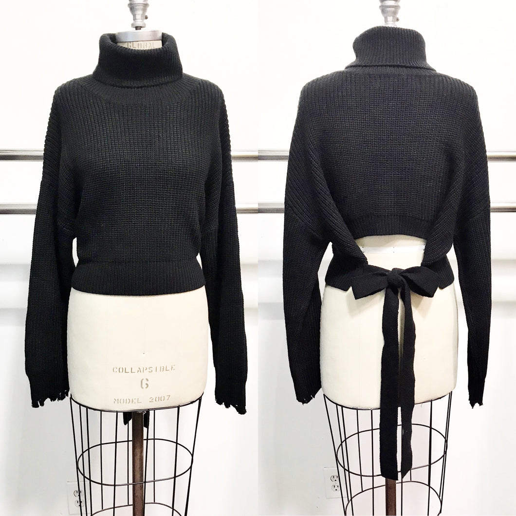 audrey turtleneck with open tie-back feature