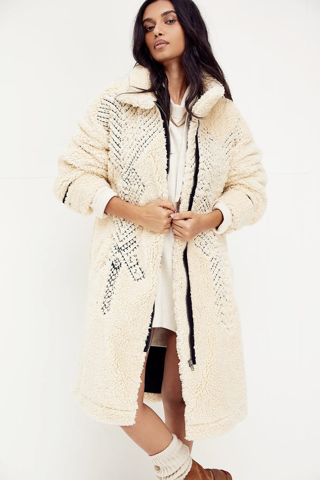 free people avery embroidered teddy jacket