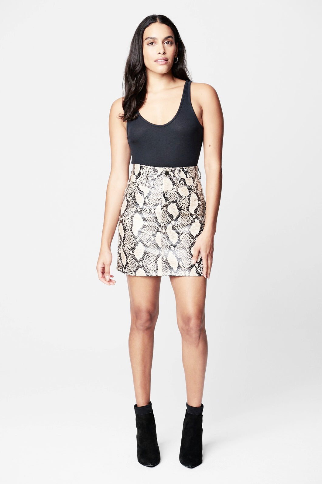 blank nyc against all odds snake printed faux mini skirt