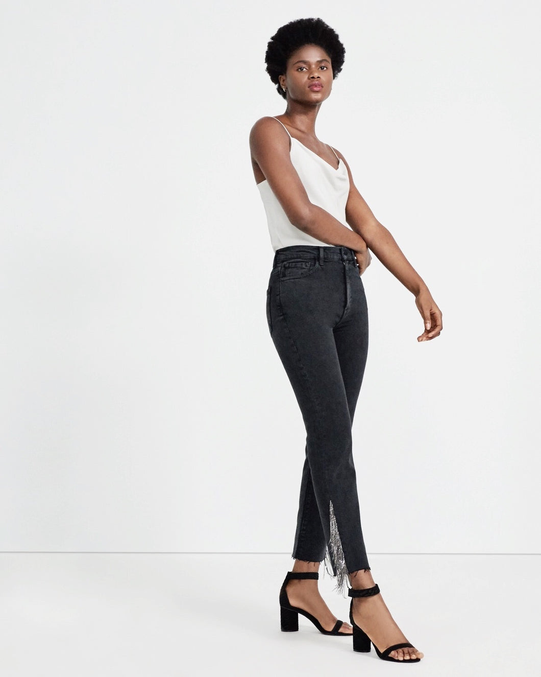 jbrand jules high rise straight leg with chain detail
