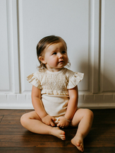 Load image into Gallery viewer, l'oved baby smocked ruffle sleeve bodysuit