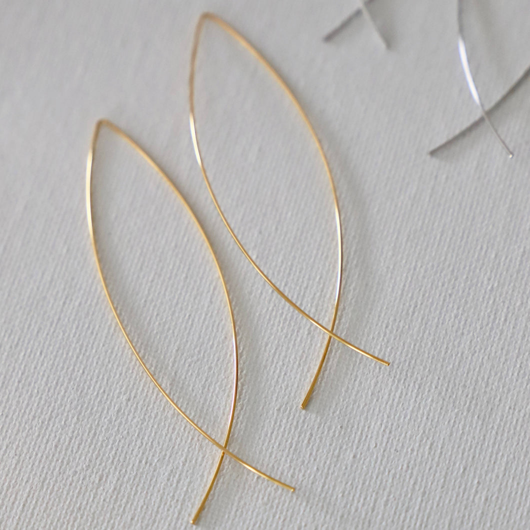 Elongated Gold Plated Earrings