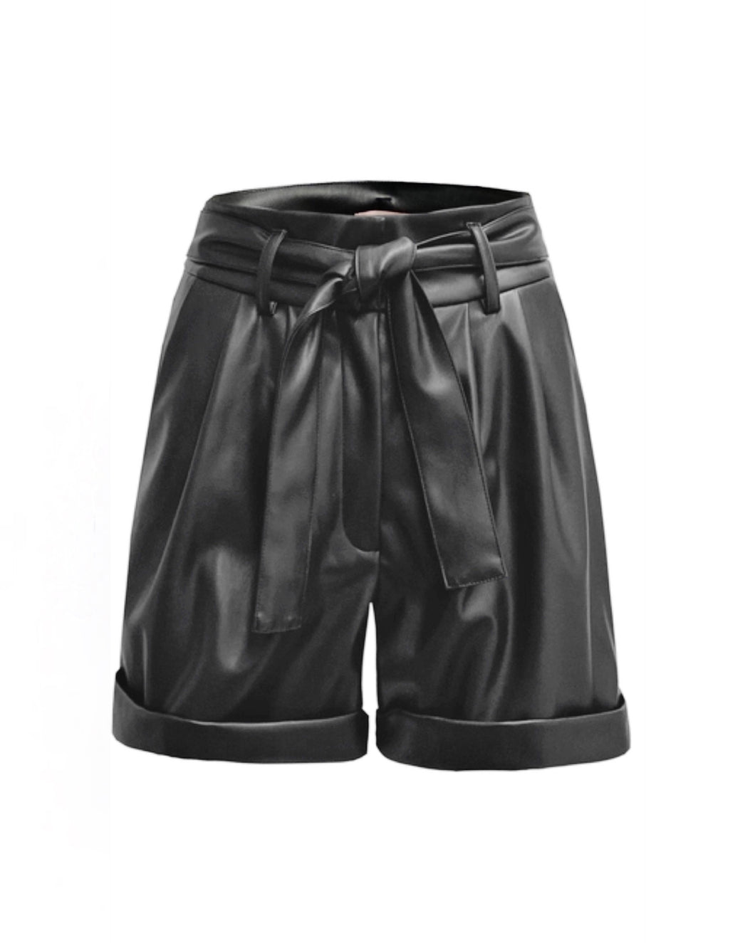 renamed cuffed faux leather shorts