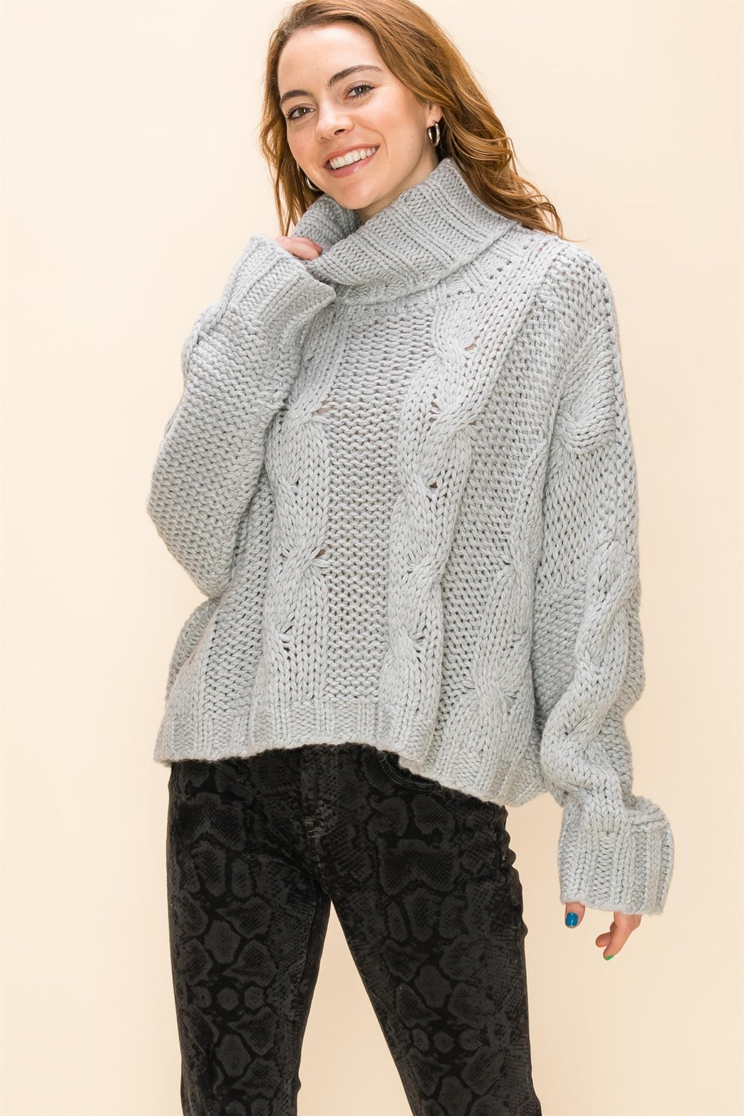 oversized flowy cable turtleneck sweater