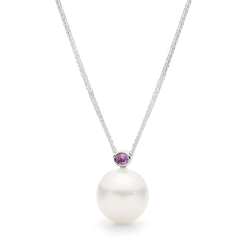 Dracakis 18ct White Gold South Sea Pearl & Pink Diamond Pendant