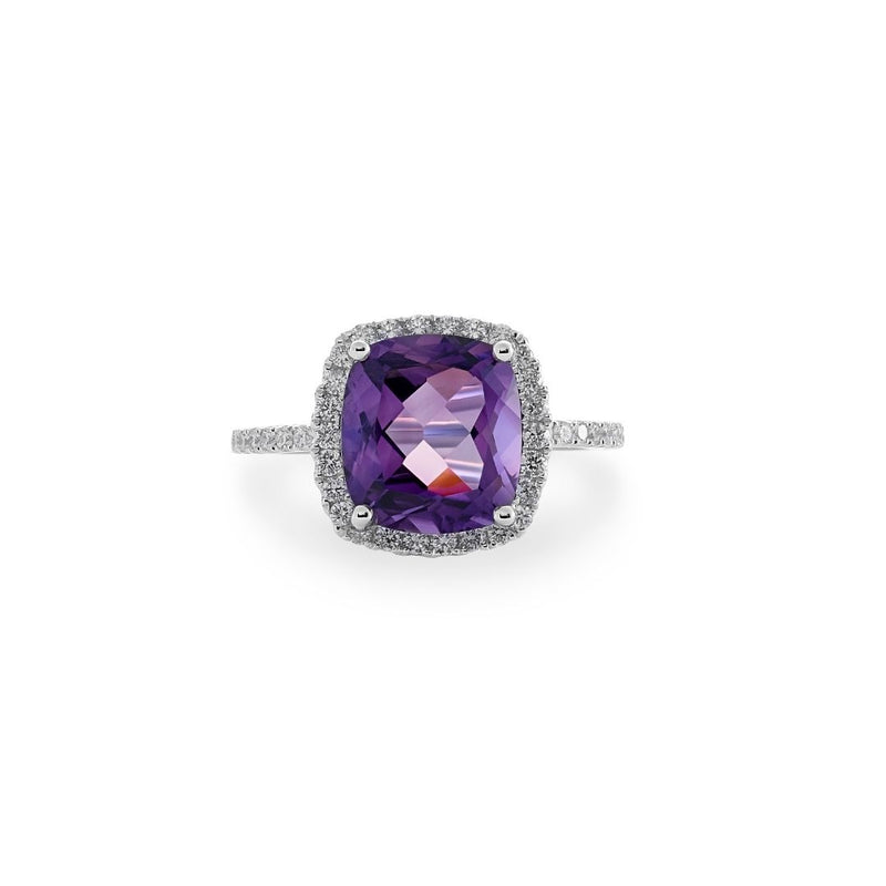 Amethyst & Diamond Halo Dress Ring