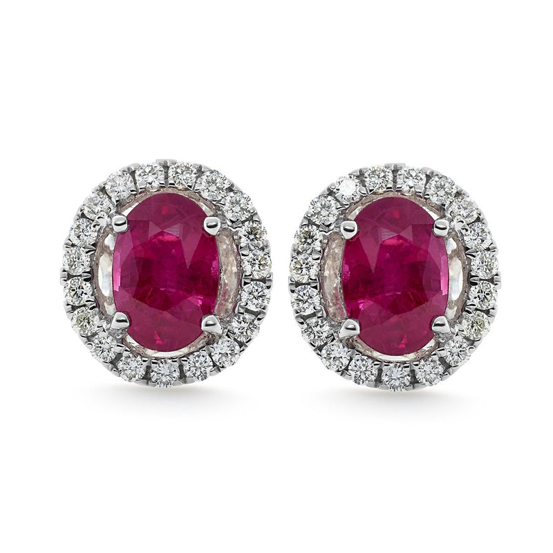 Dracakis 18ct White Gold Oval Ruby & Diamond Stud Earrings