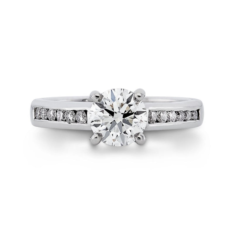 Dracakis 18ct White Gold Round Brilliant Channel Set Diamond Engagement Ring