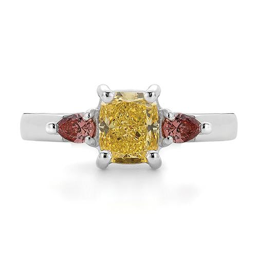 Dracakis 18ct White Gold Yellow & Pink Diamond Three Stone Engagement Ring