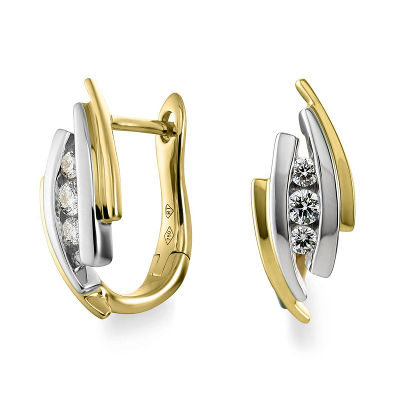 White & Yellow Gold Diamond Hoop Earrings