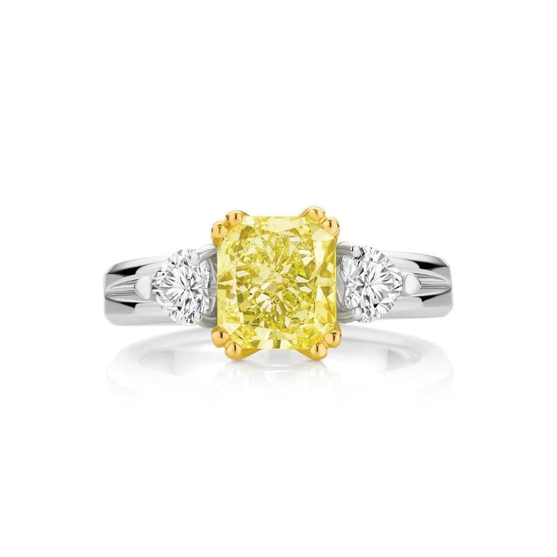 Cushion Cut Yellow Diamond Three Stone Engagement Ring