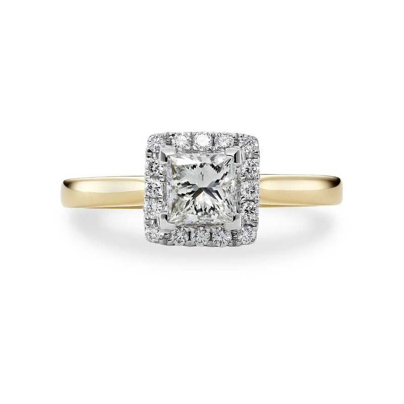 Princess Cut Diamond Two Tone Halo Engagement Ring