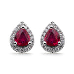 Ruby & Diamond Halo Stud Earrings