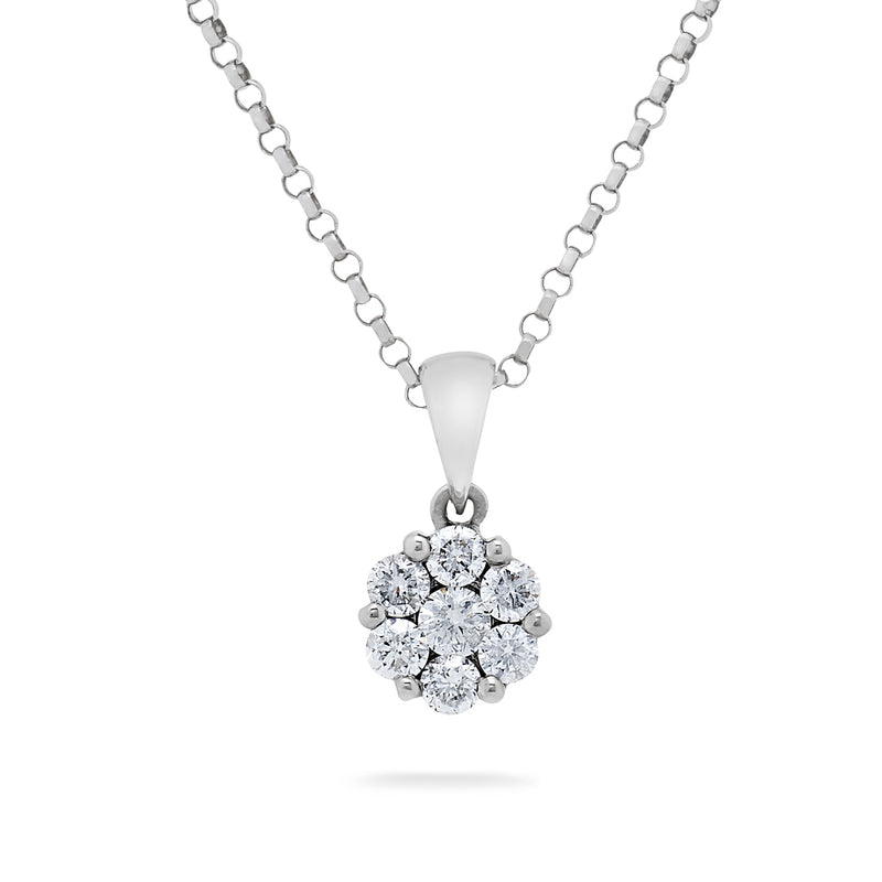 Round Brilliant Cut Diamond Cluster Pendant