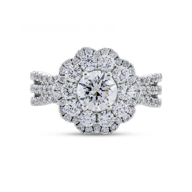 Round Brilliant Cut Diamond Double Halo Dress Ring