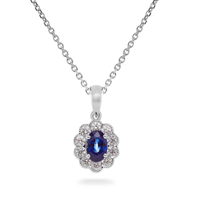 Dracakis 18ct White Gold Oval Cut Blue Sapphire & Diamond Pendant