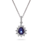 Dracakis 18ct White Gold Blue Sapphire & Diamond Cluster Pendant