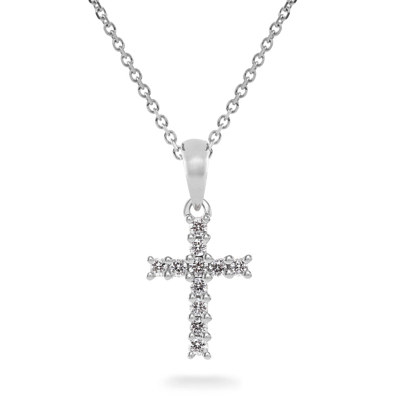Round Brilliant Cut Diamond Cross Pendant