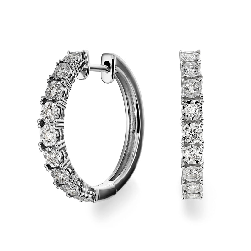Dracakis 18ct White Gold Round Brilliant Cut Diamond Hoop Earrings
