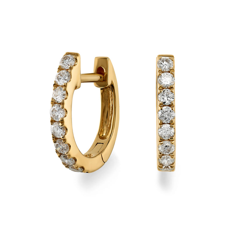 Yellow Gold Brilliant Cut Diamond Hoop Earrings
