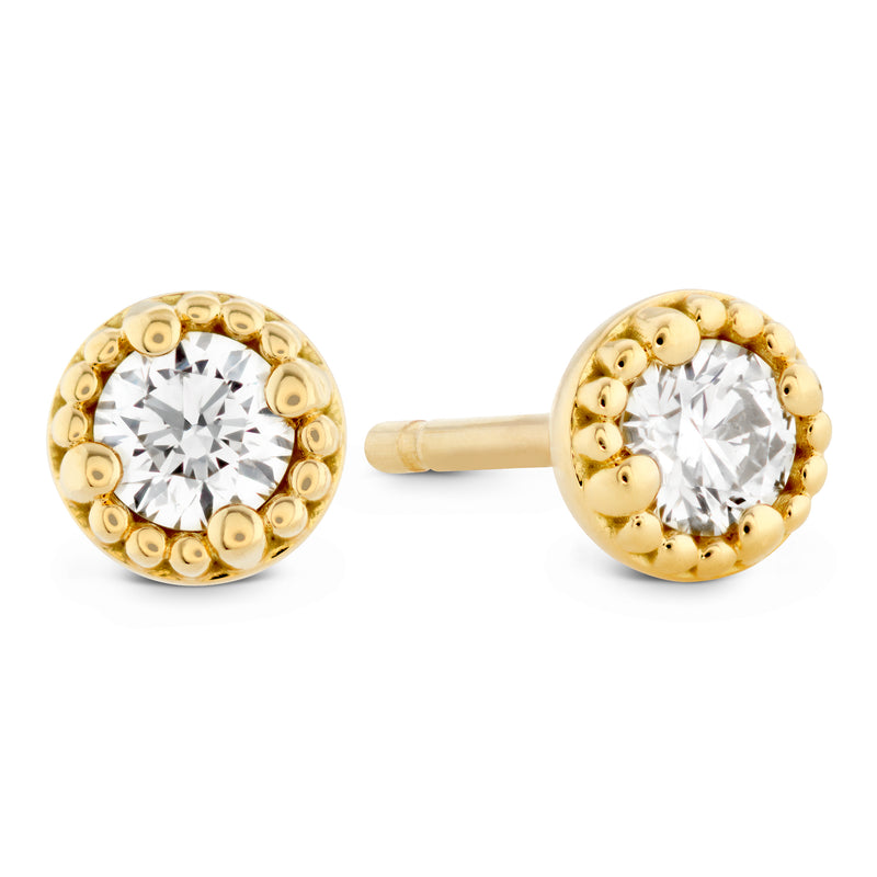 Hearts On Fire Liliana Milgrain Single Diamond Stud Earrings in Yellow Gold