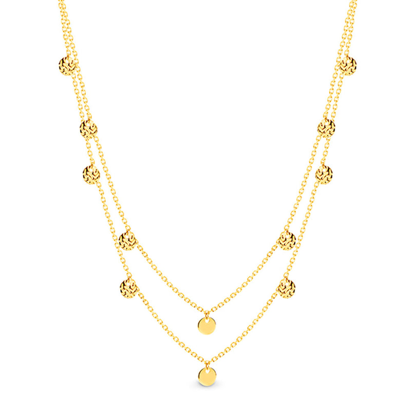 Dracakis 9ct Yellow Gold Double Layered Necklace