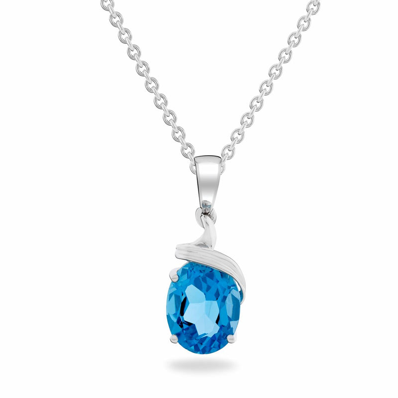 Dracakis 9ct White Gold Blue Topaz Pendant